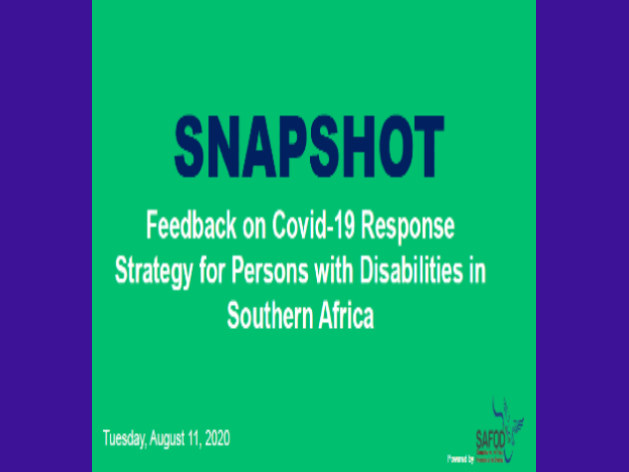 SAFOD COVID-19 Survery Snapshot Results - August 2020
